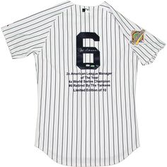 Joe Torre Signed 1996 World Series Yankees Authentic Home Jersey w Embroidered Stats (LE10)(MLB Auth) - Baseball Hall of Famer Joe Torre has personally hand-signed this 1996 World Series Yankees authentic home jersey with embroidered stats.Limited Edition of 10MLB Authentic100% Guaranteed AuthenticIncludes Steiner Sports Certificate of Authenticity Features Tamper-Evident Steiner HologramPerfect Collectors Item. Gifts > Licensed Gifts > Mlb > New York Yankees. Weight: 2.00
