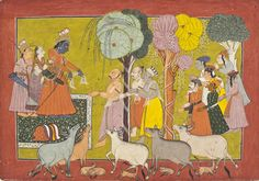 "Rama Bestows His Possessions on the Brahmins, His Friends, and Servants, Folio from the ""Shangri"" Ramayana (Adventures of Rama) The First Bahu Master (attributed to) (India, Jammu and Kashmir, Bahu, active circa 1680-1695) India, Jammu and Kashmir, Bahu, circa 1680-1695"