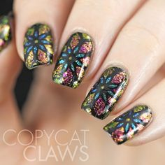 Copycat Claws: Stained Glass Flowers with ILNP Flakies, Nail Art