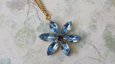 Light Sapphire Necklace made with Vintage by ArtistInJewelry