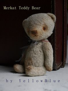 OOAK Artist teddy bear Merkat/ viscose/ 7 by yellowbluestudio, $205.00