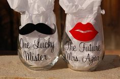 One Lucky Mr. and The Future Mrs. Stemless Wine Glasses -Customized Lips and Mustache - Perfect Engagement Gift on Etsy, $20.00