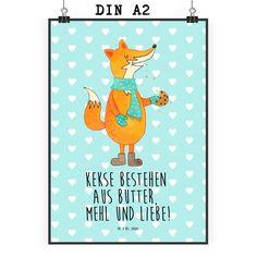 Poster DIN A2 Fuchs Keks aus Papier 160 Gramm  weiß - Das Original von Mr. & Mrs. Panda.  Jedes wunderschöne Motiv auf unseren Postern aus dem Hause Mr. & Mrs. Panda wird mit viel Liebe von Mrs. Panda handgezeichnet und entworfen.  Unsere Poster werden mit sehr hochwertigen Tinten gedruckt und sind 40 Jahre UV-Lichtbeständig und auch für Kinderzimmer absolut unbedenklich. Dein Poster wird sicher verpackt per Post geliefert.    Über unser Motiv Fuchs Keks  Die Fox-Edition ist eine besonders…