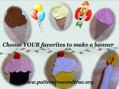 Birthday Party Cup Cake Ice-cream Cone Banner Crochet Pattern For more crochet items and tips visit http://patternstriedandtrue.org/shop