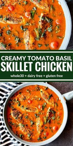 You're going to love this Creamy Tomato Basil Skillet Chicken! It's all about the sauce over perfectly sauteed chicken. Plus it's surprisingly dairy free, gluten free, and lentil soup recipe food network Creamy Tomato Basil Skillet Chicken Gluten Free Recipes, Healthy Recipes, Chicken Recipes Dairy Free, Dairy Free Dinners, Gluten Dairy Free, Turkey Recipes, Gluten Free Sauces, Dairy Free Soup, Chickpea Recipes