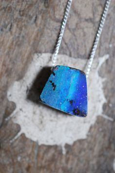 Raw, Australian Boulder Opal Pendant