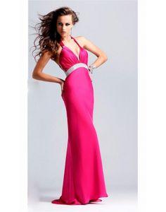 Low V-neck Halter High Waist Fuchsia Prom/Evening Dress