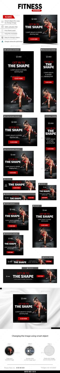 Fitness Web Banners Template PSD #ad #design Download: http://graphicriver.net/item/fitness-banners/14239641?ref=ksioks
