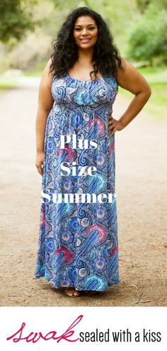 Plus Size Summer. This bestselling plus size maxi dress returns in fresh, new prints for the season! Whether you're wearing it to the beach or a barbecue, this flattering, easy-to-wear blue paisley printed tank style dress is perfect for every occasion. Plus Size Clothing Stores, Plus Size Womens Clothing, Plus Size Fashion, Plus Size Maxi Dresses, Plus Size Outfits, Very Beautiful Woman, Plus Size Summer, Pants For Women, Clothes For Women