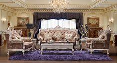 Antique Style Living Room Furniture Elegant 321 European Royal Fabric Sofa Sets Furnitureantique