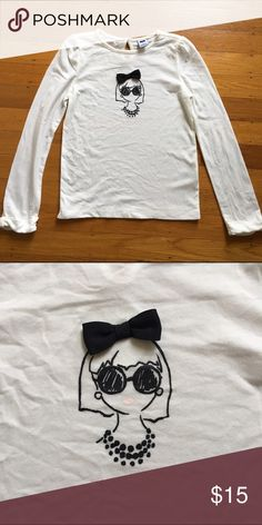 Janie and Jack tee Long sleeve white tee with bow at cuff and cute girl graphic with 3D bow.  Worn once, excellent condition. Janie and Jack Shirts & Tops Tees - Long Sleeve