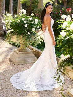 Moonlight Collection J6580 comfortable all-lace mermaid wedding gown with lace-up back and long sheer chapel train #laceupbackweddingdress #bride #lace #bridal #weddingplanning #longtrainweddingdress