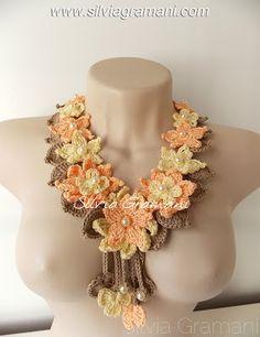 colar, flores de croche, croche, colar feminino, amarelo, laranja
