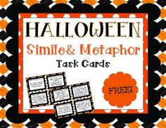 {FREE} Halloween Simile and Metaphor Task Cards Mini Set!