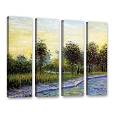 Lane In Voyer D'Argensom Park At Asnieres by Vincent Van Gogh 4 Piece Gallery-Wrapped Canvas Set