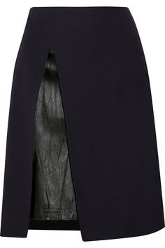 3.1 Phillip Lim Leather-paneled wool-twill skirt