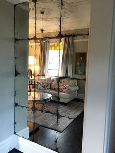 Home Interior Catalogo Antique Mirror Glass Feature wall in Underground Antique Mirror Tiles, Antique Glass, Mirror Wall Tiles, Antiqued Mirror, Decorative Mirrors, Wall Of Mirrors, Mirror On The Wall, Wall Mirror Ideas, Mirror Stairs