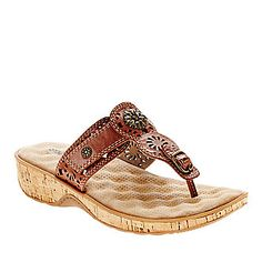 Softwalk Beaumont Laser Thong Sandals :: Casual Sandals :: Shop now with FootSmart