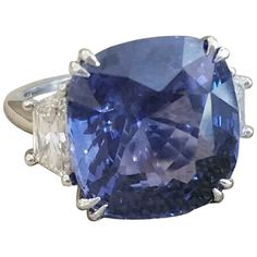 GIA 24.29 cts Cushion Blue Sapphire & Diamond Ring in Platinum - C300…