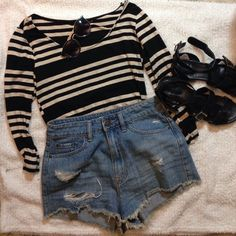Striped long sleeve crop top Beige and black striped crop top, long sleeves. Shorts sold in separate listing. Tops Crop Tops