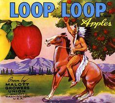 Loop Loop Brand Apples Fruit Crate Label, on BoxOfApples.com.