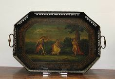 Tole Tray | Russian octagonal tole tray with pierced gallery and painted scene ...$4,500