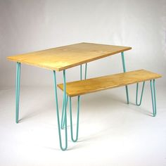 Birch Ply Dining Table and Benches with Hairpin Legs, by Cord Industries from Not On The High Street