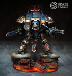 Terryn Imperial Knight and Ultramarines Invictarii - display by Awaken Realms - Forum Painting Tips, Figure Painting, Imperial Knight, Warhammer Models, Warhammer 40000, Display, Fantasy, Gallery, Knights