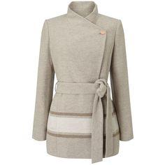 Jacques Vert Asymmetric Colourblock Coat, Light Neutral ($235) ❤ liked on Polyvore featuring outerwear, coats, jackets, striped coat, long sleeve coat, asymmetrical coat, stripe coat and funnel neck coat