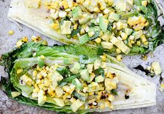 Grilled Romaine Salad with Corn and Avocado (of course substitute a healthy oil in lieu of the suggested ones)