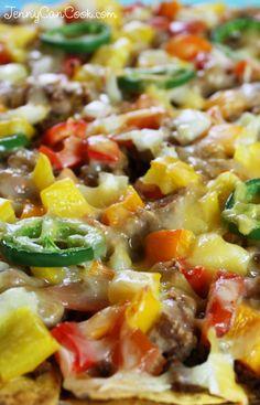 Nachos for Dinner recipe from Jenny Jones (JennyCanCook.com) - You've never had nachos like these - healthy and low fat with lots of veggies. #nachos #jennyjones #healthynachos