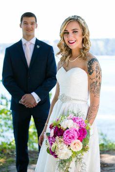 Bride makeup, dress, and flowers - Tacoma Wedding Photography