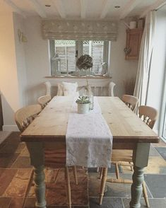 Image result for The gorgeous cottage kitchen in beautiful rustic style with flagstone flooring and chunky shab by furniture