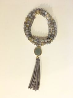 Long Gray Agate Boho Bead Necklace with CZ Pave-Studded Moonstone Pendant and Grey Suede Tassel #PierceDesignCo