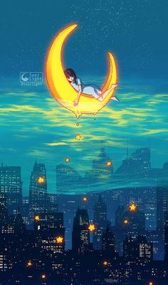Digital Doodles by Ronald Kuang. Ronald Kuang is an illustrator doing digital doodles and digital painting from Mainland, China. Pretty Art, Cute Art, Yuumei Art, Art Anime, Kawaii Art, Moon Art, Aesthetic Art, Cute Drawings, Art Inspo