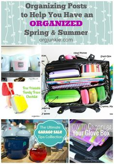Organizing Posts to Help You Have an Organized Spring & Summer - from garage sales to organizing the garage and everything in between.  Make this summer an organized one!