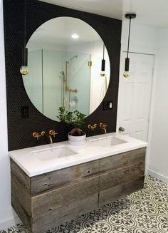 Design Styles- Modern Industrial style bathroom-Matte Black penny round tiles