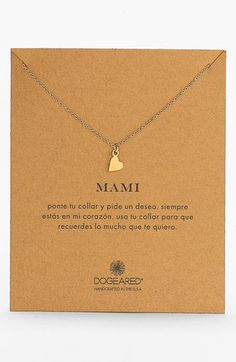 Free shipping and returns on Dogeared 'Mami' Boxed Pendant Necklace at Nordstrom.com. Let Mom know what she means to you with this delicately handcrafted necklace featuring a teeny, symbolic heart at the center.