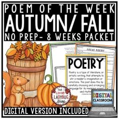 Fall Poem of the Week: Poetry Unit Reading Comprehension Passages & Questions