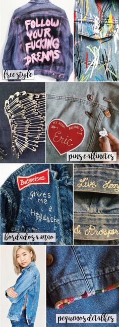 Embroidery Jeans Diy Denim Shirts 24 Ideas For 2019 Jean Diy, Tween Mode, Diy Kleidung, Diy Vetement, Painted Clothes, Diy Clothing, Sewing Clothes, Diy Clothes Jeans, Diy Jeans