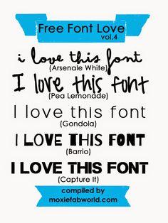 Moxie Fab World: Free Font Love Vol. 4  ~~ {5 free fonts w/ links}
