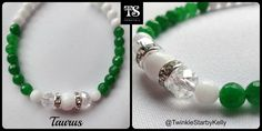 Taurus  Exciting new bracelet inspired by the Greek story of Taurus, created using white quartz and a Swarovski crystal centre piece to represent Zeus appearing as a magificent white bull. The jade gemstone is because emerald is the birthstone of those born under Taurus. A prefect gift for those born April 21st to May 20th