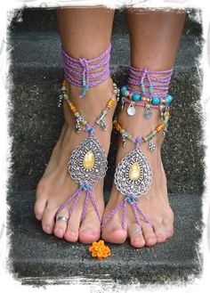 INDIE Paisley BAREFOOT sandals PURPLE sandals crochet Gypsy Sandals Bone beads Wanderlust anklets Barefoot Wedding Toe thong Indian Wedding
