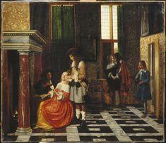 Pieter de HOOCH Rotterdam, 1629 - Amsterdam, 1684  Joueurs de cartes dans un riche intérieur H. : 0,67 m. ; L. : 0,77 m.  Peint vers 1663/1665, soit dans les premières années de la période amsterdamoise de l'artiste (à partir de 1660/1661). Le jeu de cartes, allant de pair avec des démarches galantes, est truqué (la femme, de moralité sans doute suspecte, a tous les as dans son jeu...). Acquis à la vente Tolozan, Paris, 1801 Département des Peintures Louvre