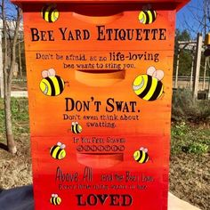 Bee Yard Etiquette UNASSEMBLED Custom Painted Beehive Box Beekeeping Equipment