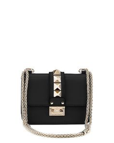 Valentino Lock Micro Mini Shoulder Bag, Black $1895 (03/2016)   Neiman Marcus