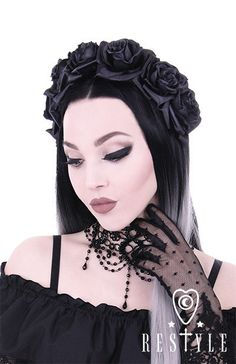 Black Roses Headband - Wide satin headband decorated with seven, black roses.