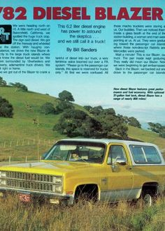 The first diesel Blazer Gm Trucks, Cool Trucks, Chevy Trucks, Pickup Trucks, Chevy Blazer K5, K5 Blazer, American Stock, Truck Quotes, Big Bertha