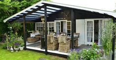 Pergola Attached To House Plans Caravan Home, Black House Exterior, Deco, Summer Cabins, My Ideal Home, Pergola Attached To House, Ranch Style Homes, Garden Studio, Patio Roof