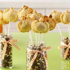 If you've ever wished of an apple pie dessert you can eat on the go, you must try our fun Apple Pie Pops! Instead of in slices, this treat serves apple pie on a stick. Drizzle with or dunk in caramel sauce to make each bite taste like a caramel apple. Fall Dessert Recipes, Fall Desserts, Fall Recipes, Holiday Recipes, Desert Recipes, Christmas Desserts, Dessert Ideas, Mini Pumpkin Pies, Mini Pumpkins